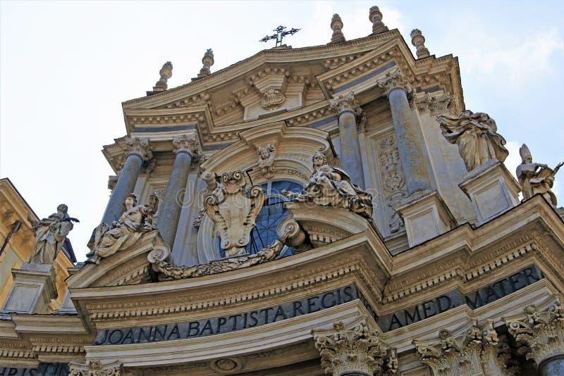 Ο Ιωάννα Baptiste, στο Piazzo SAN Carlo, ημερησίως Πάσχας μπλε ουρανού, Τορίνο, Λιγυρία, Ιταλία στοκ εικόνες