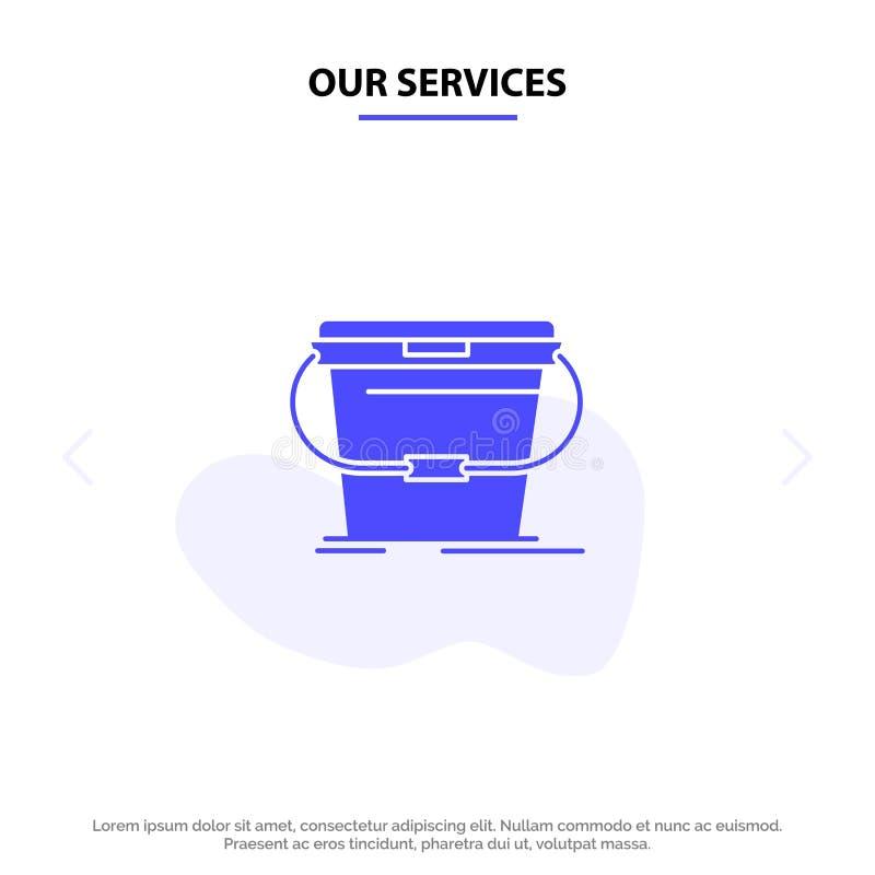 Ο κάδος υπηρεσιών μας, καθαρισμός, πλύσιμο, στερεό πρότυπο καρτών Ιστού εικονιδίων Glyph νερού ελεύθερη απεικόνιση δικαιώματος
