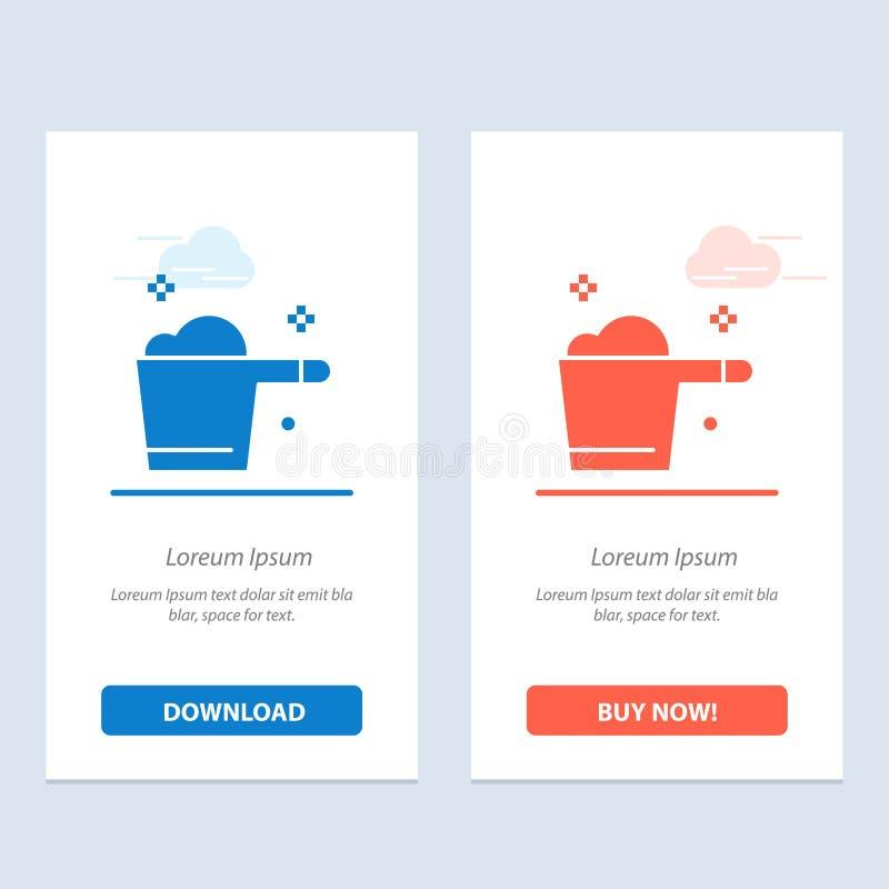 Ο καθαρισμός, το απορρυπαντικό, ο μετρητής, η οικοκυρική μπλε και το κόκκινο μεταφορτώνουν και αγοράζουν τώρα το πρότυπο καρτών W διανυσματική απεικόνιση