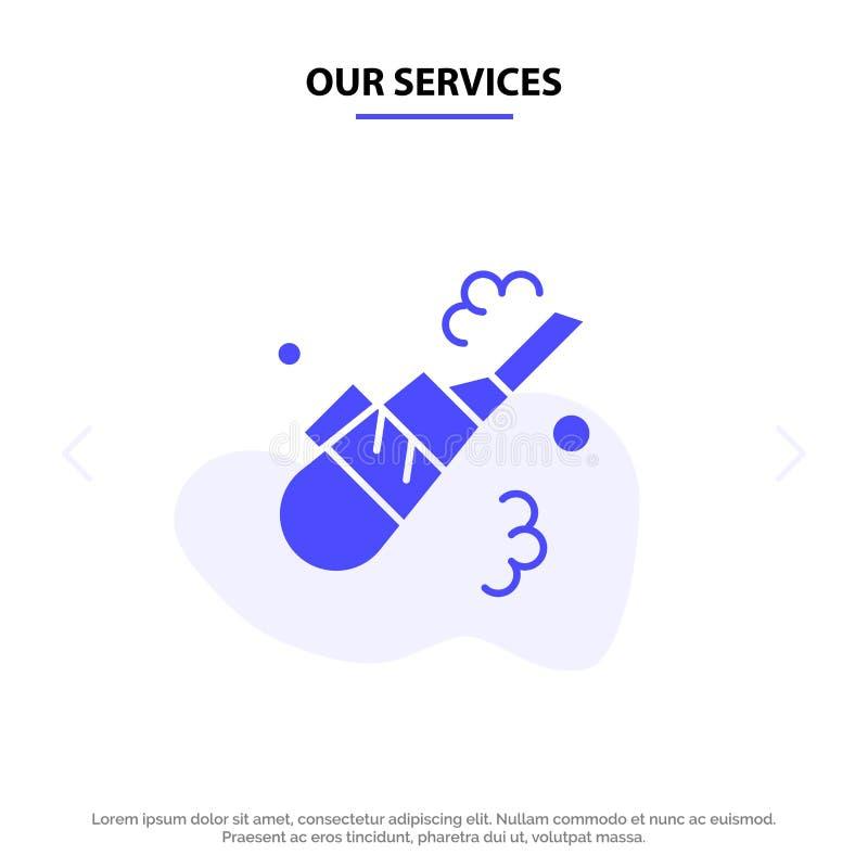Ο καθαριστής υπηρεσιών μας, καθαρισμός, κενό, στερεό πρότυπο καρτών Ιστού εικονιδίων Glyph σωλήνων ελεύθερη απεικόνιση δικαιώματος