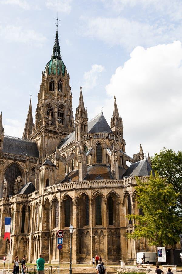 Ο καθεδρικός ναός του Bayeux που είναι γνωστός για τη γοτθική αρχιτεκτονική του στοκ εικόνα