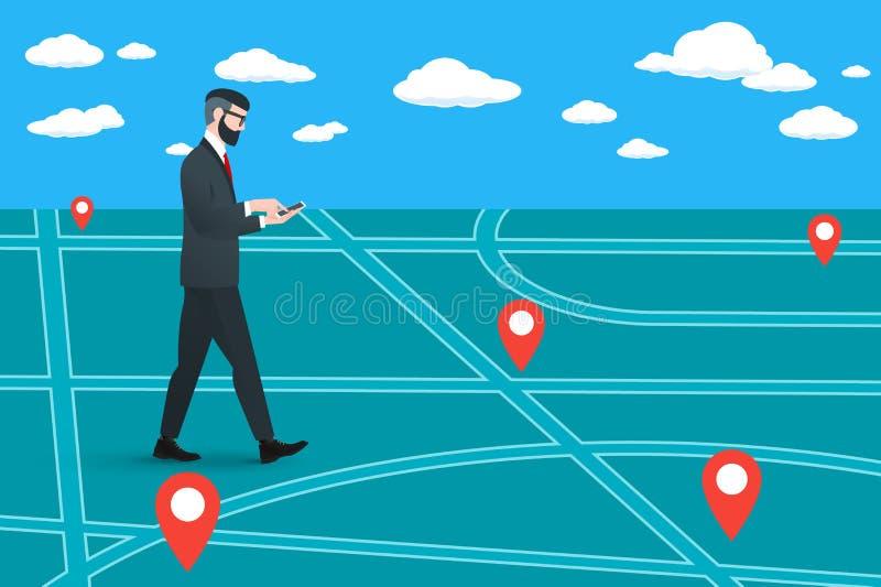 Ο καθιερώνων τη μόδα πεζός nerd hipster πηγαίνει σε έναν εικονικό χάρτη πόλεων ελεύθερη απεικόνιση δικαιώματος