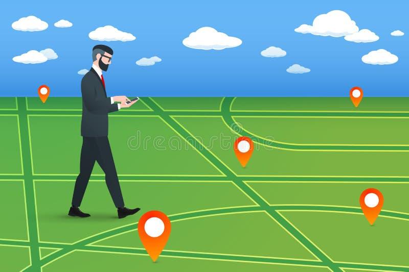 Ο καθιερώνων τη μόδα πεζός nerd hipster πηγαίνει σε έναν εικονικό χάρτη πόλεων Αυτός ο επιχειρηματίας που φορά το στερεό κοστούμι ελεύθερη απεικόνιση δικαιώματος