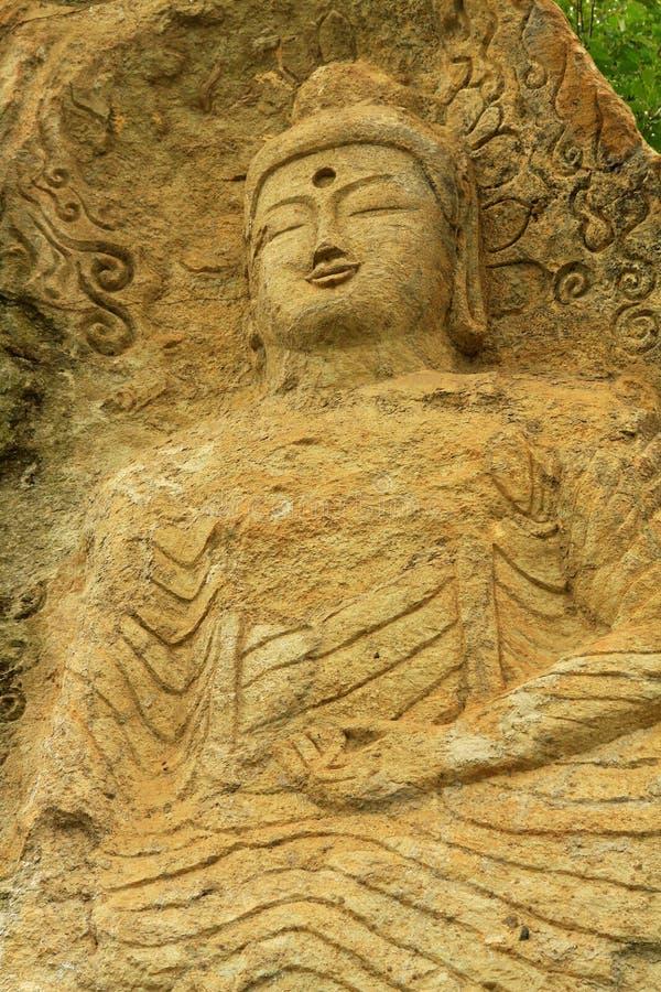 Ο καθισμένος Βούδας χάρασε στην επιφάνεια βράχου Golguram, Gyeongju Κορέα στοκ εικόνες