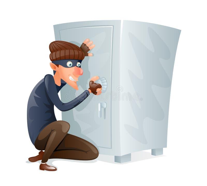 Ο κακός δόλιος σκληρός κλέφτης προσπαθεί να ανοίξει ασφαλές Strongbox με τις τιμές κλέβει το διάνυσμα σχεδίου κινούμενων σχεδίων  ελεύθερη απεικόνιση δικαιώματος
