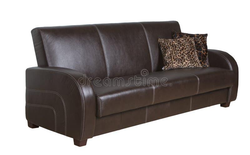 Ο καναπές είναι δέρμα καφετί στοκ εικόνα με δικαίωμα ελεύθερης χρήσης
