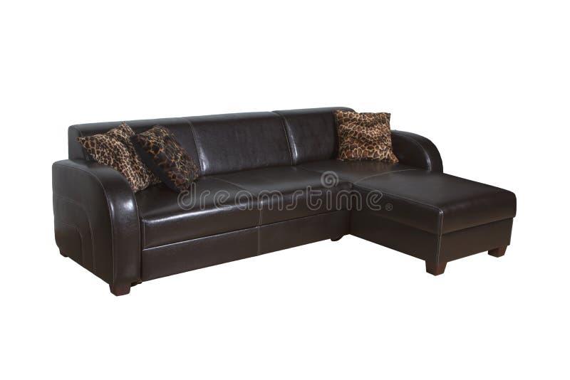 Ο καναπές είναι δέρμα καφετί στοκ εικόνα
