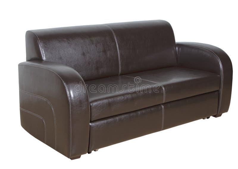 Ο καναπές είναι δέρμα καφετί στοκ εικόνες