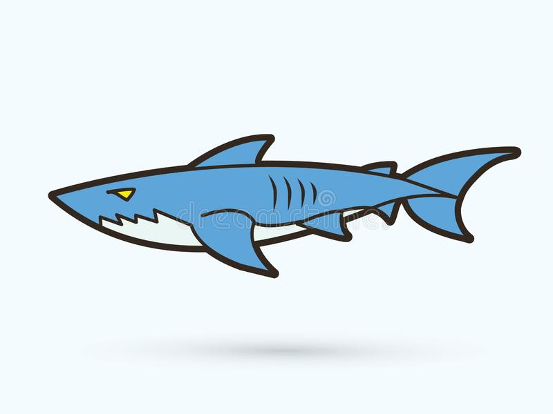 Ο καρχαρίας κολυμπά το γραφικό διάνυσμα κινούμενων σχεδίων ελεύθερη απεικόνιση δικαιώματος