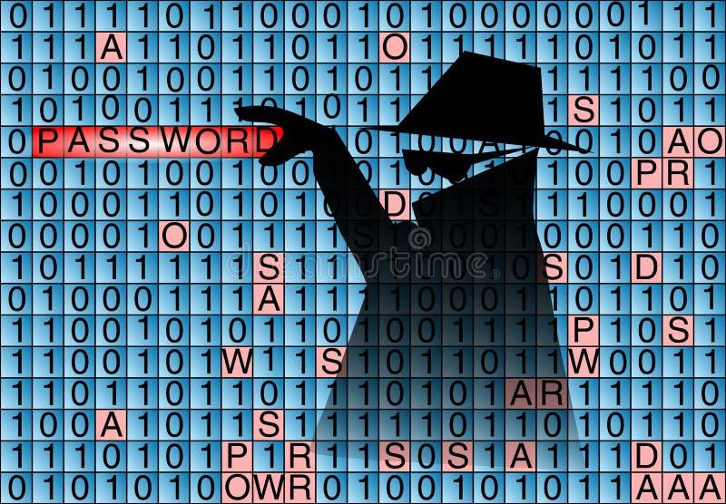 Ο κατάσκοπος κλέβει τον κωδικό πρόσβασης ελεύθερη απεικόνιση δικαιώματος