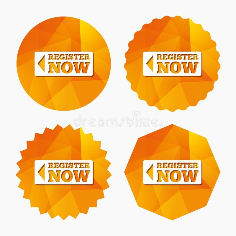 Ο κατάλογος υπογράφει τώρα το εικονίδιο Ενώστε το σύμβολο κουμπιών ελεύθερη απεικόνιση δικαιώματος