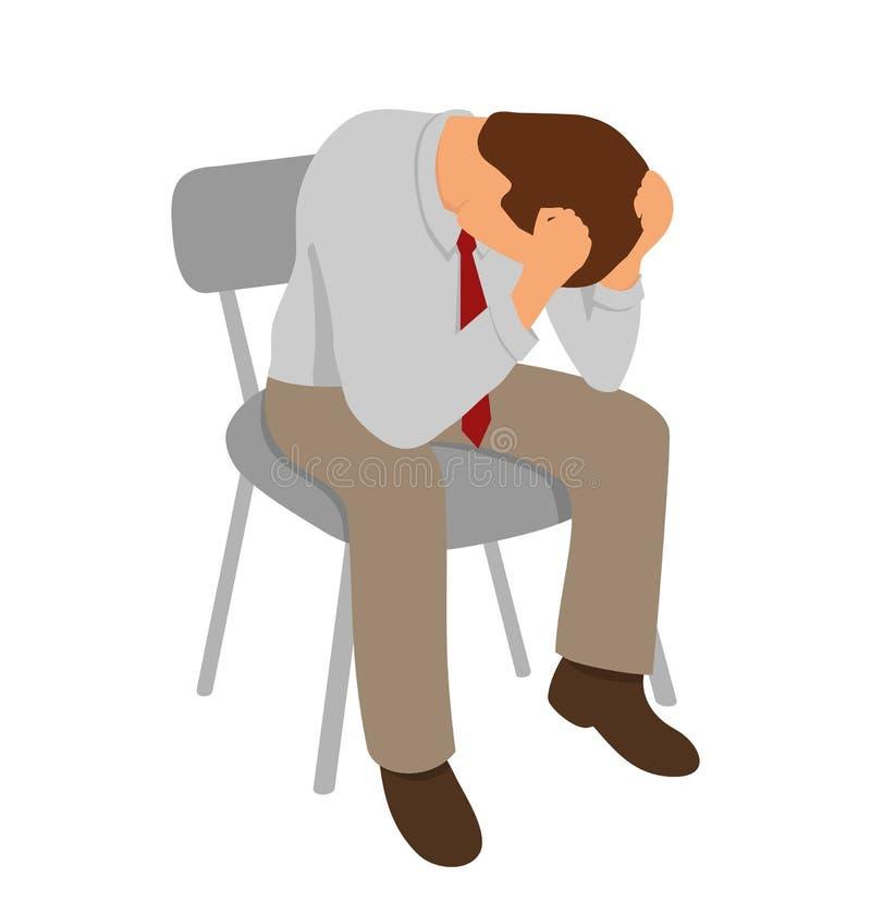 Ο καταπονημένος επιχειρηματίας είναι κάτω από την πίεση με τον πονοκέφαλο διανυσματική απεικόνιση
