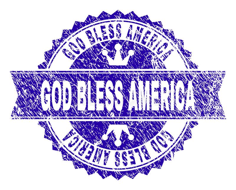 Ο κατασκευασμένος ΘΕΟΣ Grunge ΕΥΛΟΓΕΙ τη σφραγίδα γραμματοσήμων της ΑΜΕΡΙΚΗΣ με την κορδέλλα απεικόνιση αποθεμάτων