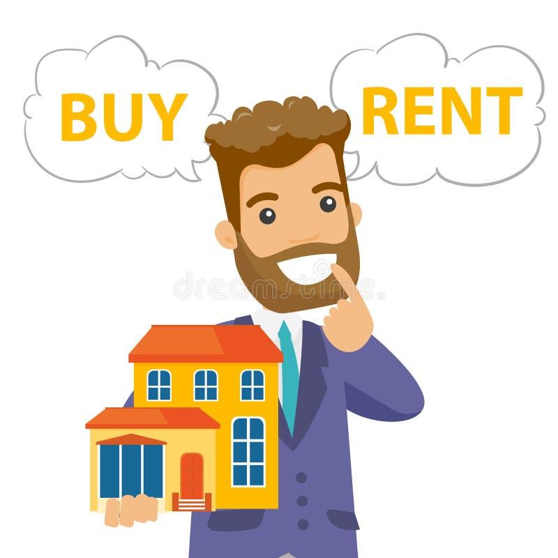 Ο καυκάσιος λευκός που σκέφτεται αγοράζει ή νοικιάζει το σπίτι απεικόνιση αποθεμάτων