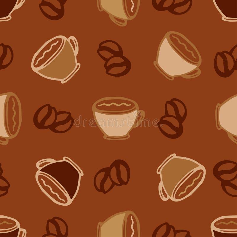 Ο καυτός καφές κοιλαίνει το άνευ ραφής υπόβαθρο σχεδίων για το σχέδιο επιλογών καφέδων ή εστιατορίων απεικόνιση αποθεμάτων