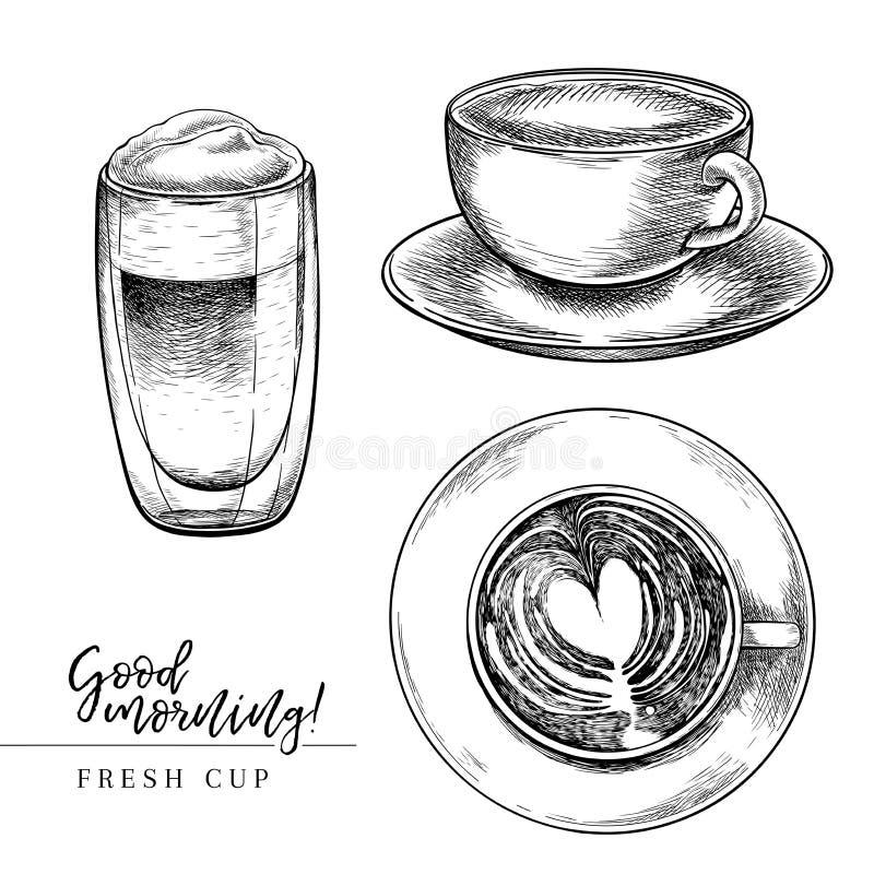 ο καφές απομόνωσε το καθορισμένο λευκό Συρμένο χέρι φλυτζάνι καφέ Κούπα του cappuccino, πρόσφατο anf μια άποψη άνωθεν Χαραγμένο δ διανυσματική απεικόνιση