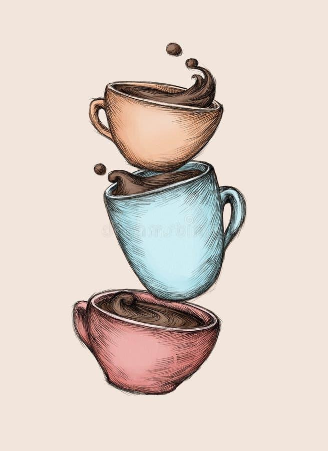 ο καφές κοιλαίνει τρία διανυσματική απεικόνιση