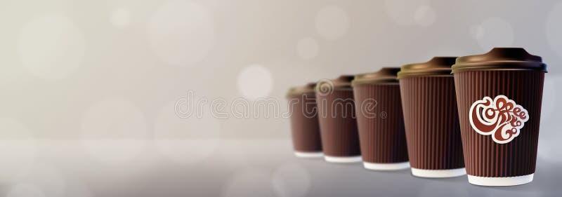 ο καφές πηγαίνει Γκρίζο υπόβαθρο Bokeh φλυτζανιών κυματισμών καφέ στοκ εικόνες