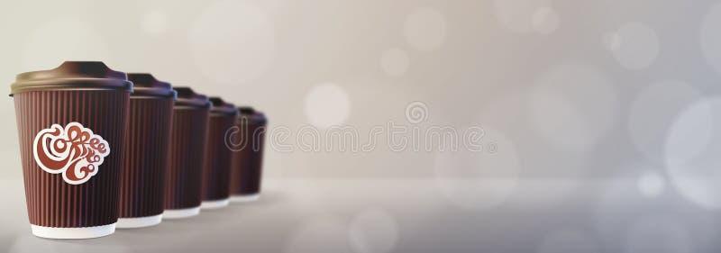ο καφές πηγαίνει Γκρίζο υπόβαθρο Bokeh φλυτζανιών κυματισμών καφέ στοκ εικόνες με δικαίωμα ελεύθερης χρήσης