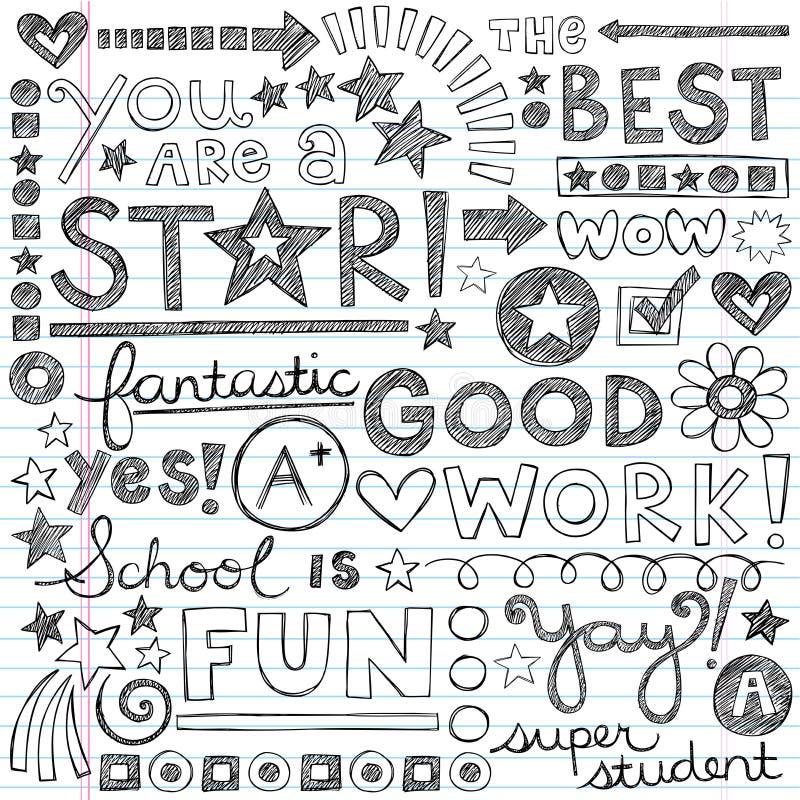 Ο καλός έπαινος εργασίας διατυπώνει περιγραμματικό Doodle Encouragem διανυσματική απεικόνιση