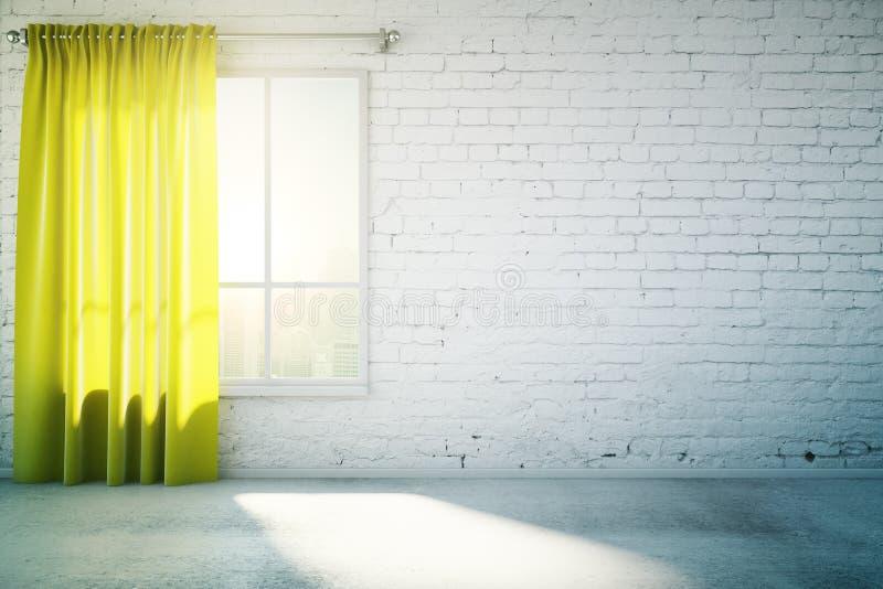 Ο κενός άσπρος τοίχος με την κίτρινη κουρτίνα και το τσιμεντένιο πάτωμα, χλευάζει επάνω διανυσματική απεικόνιση