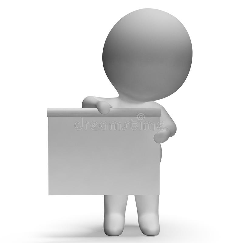 Ο κενός λευκός πίνακας με Copyspace περιλαμβάνει τον τρισδιάστατο χαρακτήρα διανυσματική απεικόνιση