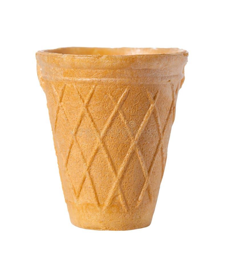 Ο κενός κώνος παγωτού, φλυτζάνι βαφλών είναι απομονωμένος στο άσπρο υπόβαθρο στοκ εικόνες με δικαίωμα ελεύθερης χρήσης