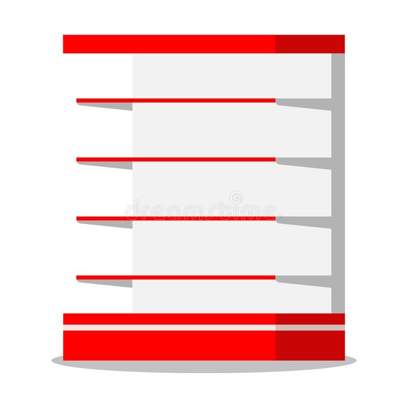 Ο κενός μαγαζί λιανικής πώλησης υπεραγορών τοποθετεί σε ράφι το εικονίδιο που απομονώνεται στο άσπρο υπόβαθρο απεικόνιση αποθεμάτων