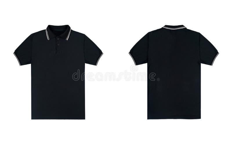 Ο κενός σαφής Μαύρος πουκάμισων πόλο με το άσπρο χρώμα λωρίδων που απομονώνεται στο άσπρο υπόβαθρο μπροστινή και πίσω άποψη πουκά στοκ φωτογραφίες