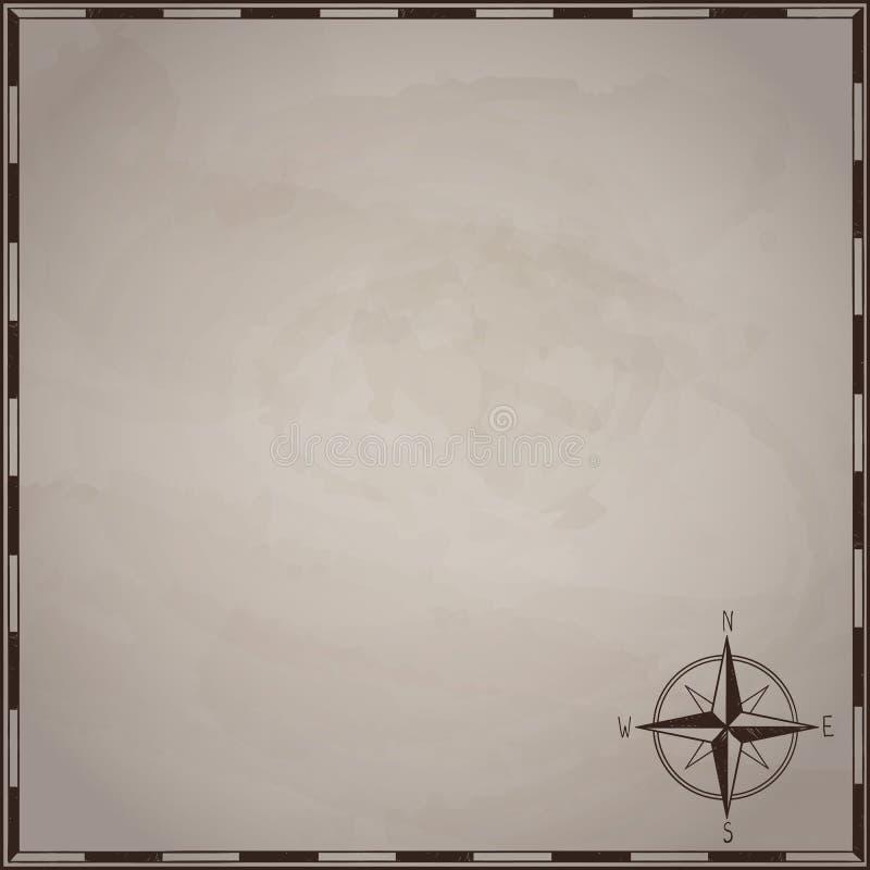 Ο κενός χάρτης θησαυρών πειρατών στην παλαιά σύσταση εγγράφου με το χέρι χρωμάτισε το πλαίσιο και αυξήθηκε του αέρα, tamplate χλε απεικόνιση αποθεμάτων