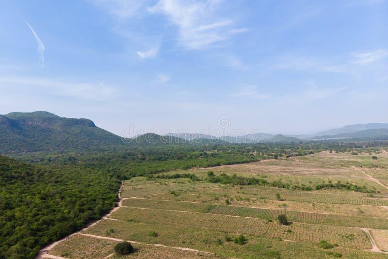 Ο κηφήνας πυροβόλησε το εναέριο φυσικό τοπίο άποψης του αγροκτήματος γεωργίας ενάντια στο δάσος βουνών και φύσης στοκ φωτογραφία