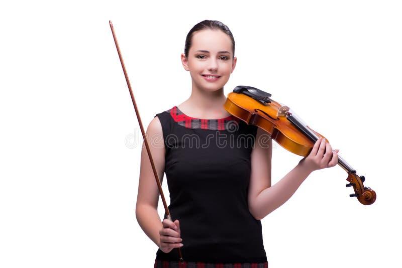 Ο κομψός νέος φορέας βιολιών που απομονώνεται στο λευκό στοκ φωτογραφία