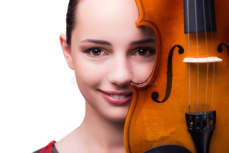 Ο κομψός νέος φορέας βιολιών που απομονώνεται στο λευκό στοκ εικόνες με δικαίωμα ελεύθερης χρήσης