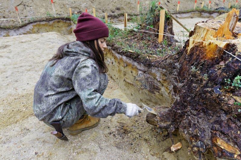 Ο κορίτσι-αρχαιολόγος καθαρίζει τον τοίχο της ανασκαφής στοκ εικόνες με δικαίωμα ελεύθερης χρήσης