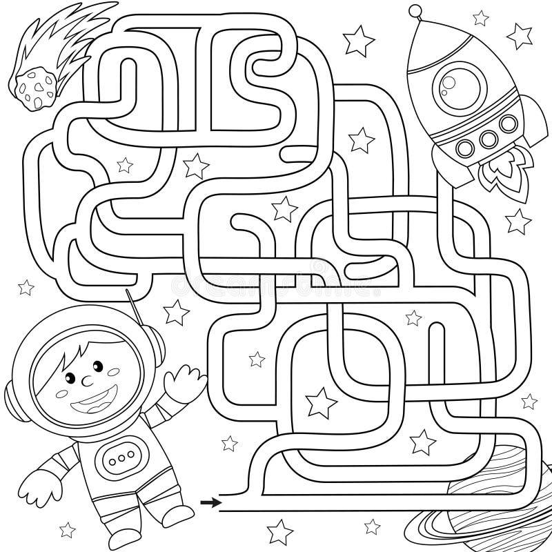 Ο κοσμοναύτης βοήθειας βρίσκει την πορεία στον πύραυλο λαβύρινθος Παιχνίδι λαβυρίνθου για τα κατσίκια Γραπτή διανυσματική απεικόν διανυσματική απεικόνιση