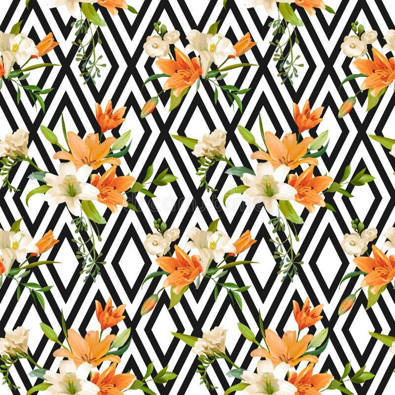 Ο κρίνος άνοιξη ανθίζει το υπόβαθρο - άνευ ραφής Floral σχέδιο διανυσματική απεικόνιση