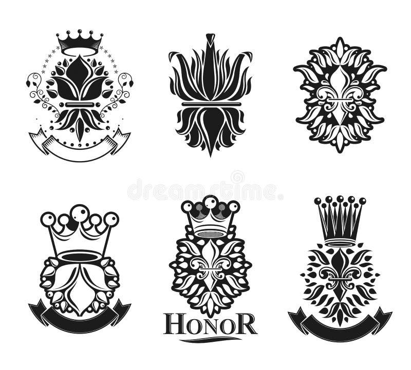 Ο κρίνος ανθίζει τα βασιλικές σύμβολα, floral και τις κορώνες, εμβλήματα καθορισμένα αυτή απεικόνιση αποθεμάτων