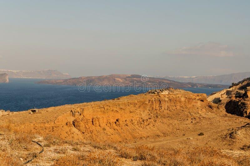 Ο κρατήρας, το δοχείο του santorini, σήμερα η εσωτερική θάλασσα στοκ εικόνες με δικαίωμα ελεύθερης χρήσης