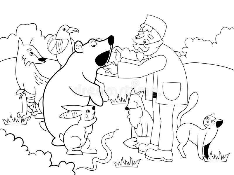 Ο κτηνίατρος θεραπεύει τα ζώα στη δασική απεικόνιση ράστερ Γραπτός, χρωματισμός διανυσματική απεικόνιση