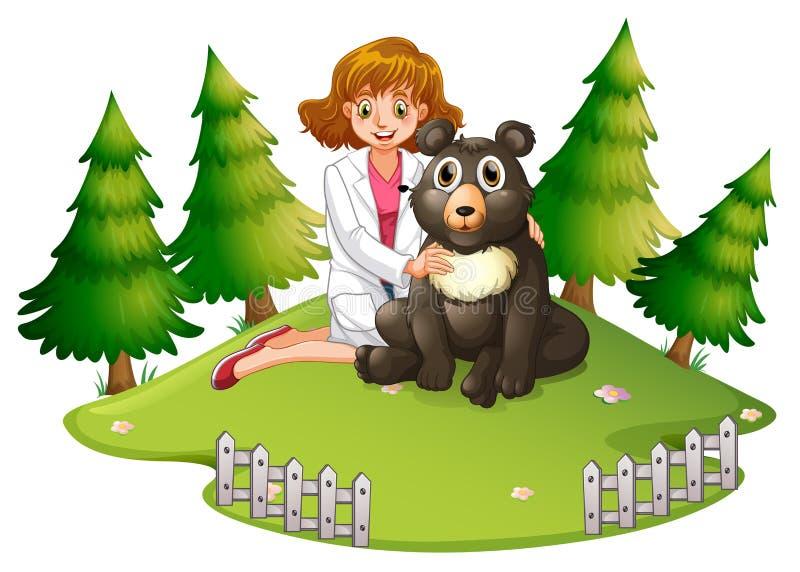 Ο κτηνίατρος και αντέχει στο ζωολογικό κήπο διανυσματική απεικόνιση