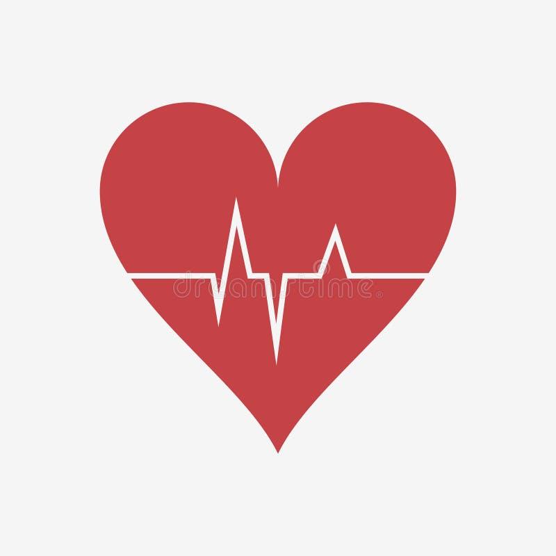 Ο κτύπος της καρδιάς ή η καρδιά κτυπά καρδιογράφημα Κόκκινη καρδιά με ένα λωρίδα σφυγμού διάνυσμα ελεύθερη απεικόνιση δικαιώματος