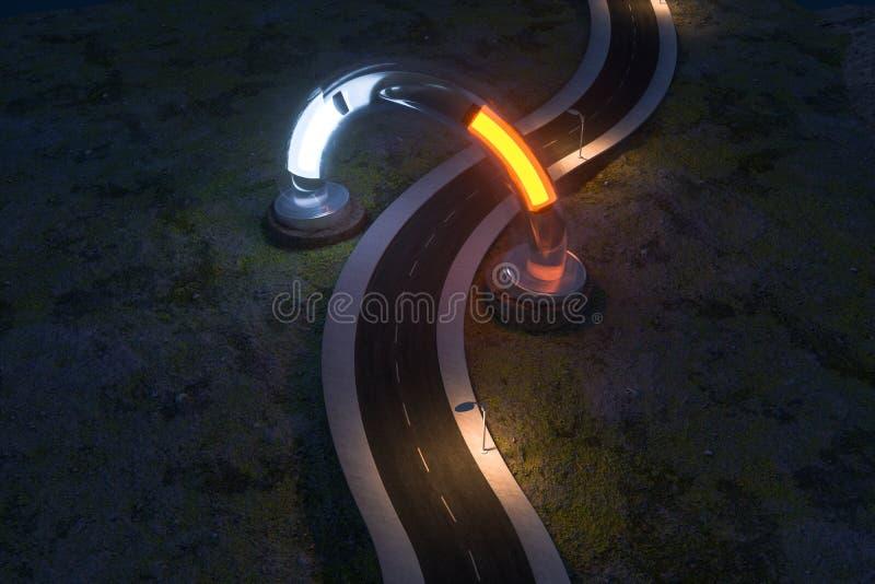Ο κυματίζοντας δρόμος και η στρογγυλή μαγική είσοδος, τρισδιάστατη απόδοση διανυσματική απεικόνιση