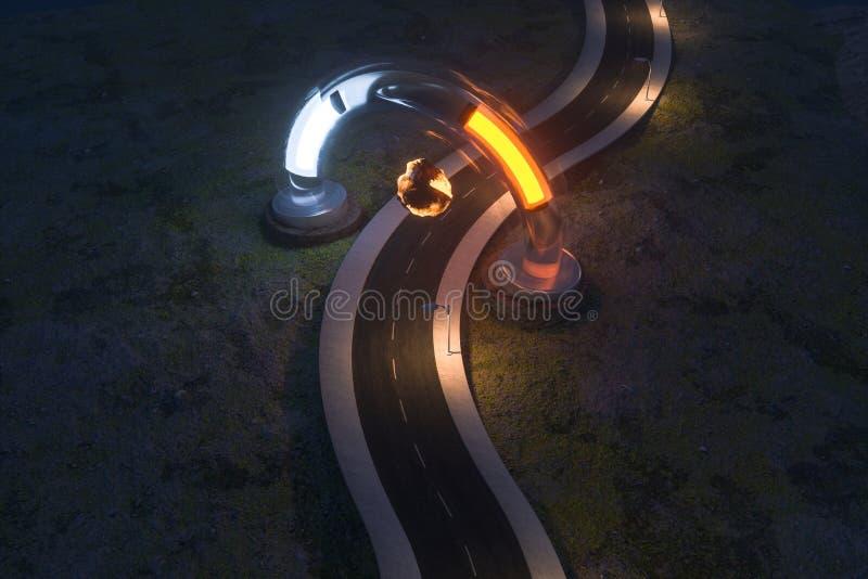 Ο κυματίζοντας δρόμος και η στρογγυλή μαγική είσοδος, τρισδιάστατη απόδοση ελεύθερη απεικόνιση δικαιώματος