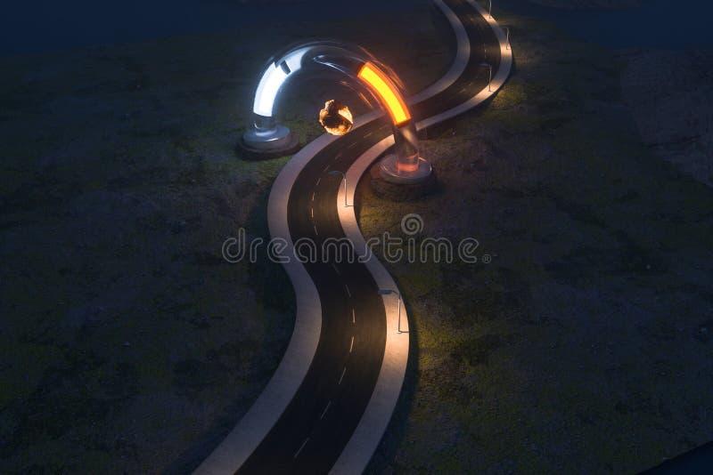 Ο κυματίζοντας δρόμος και η στρογγυλή μαγική είσοδος, τρισδιάστατη απόδοση απεικόνιση αποθεμάτων