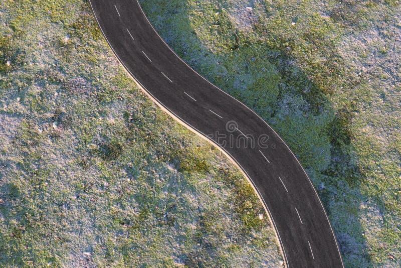 Ο κυματίζοντας δρόμος στα εγκαταλειμμένα προάστια, τρισδιάστατη απόδοση ελεύθερη απεικόνιση δικαιώματος