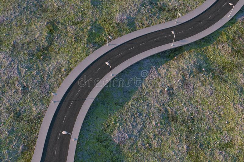 Ο κυματίζοντας δρόμος στα εγκαταλειμμένα προάστια, τρισδιάστατη απόδοση απεικόνιση αποθεμάτων
