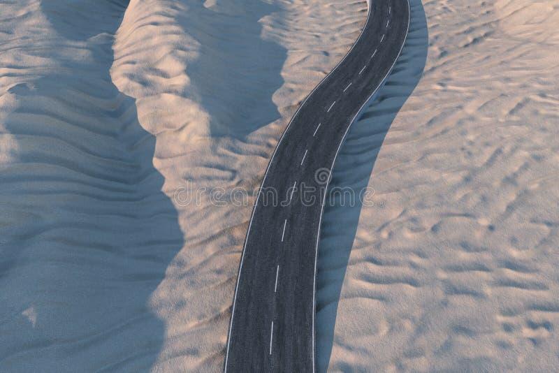 Ο κυματίζοντας δρόμος στην έρημο, τρισδιάστατη απόδοση απεικόνιση αποθεμάτων