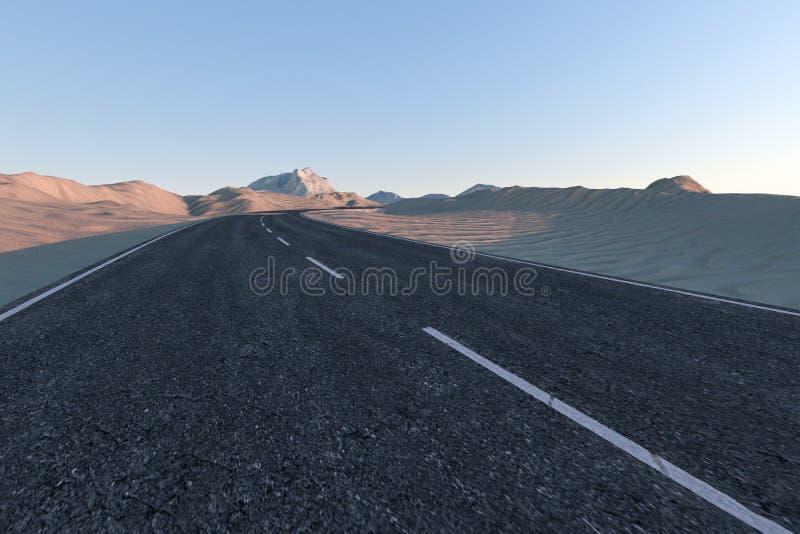 Ο κυματίζοντας δρόμος στην έρημο, τρισδιάστατη απόδοση διανυσματική απεικόνιση