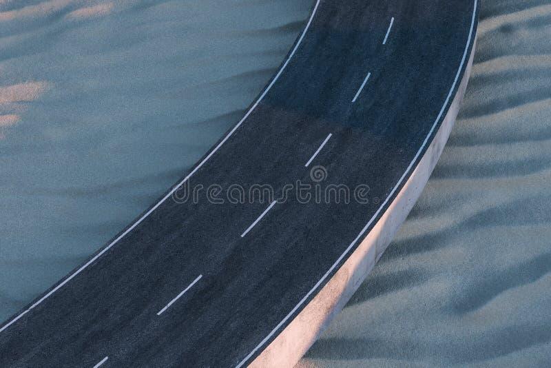 Ο κυματίζοντας δρόμος στην έρημο, τρισδιάστατη απόδοση ελεύθερη απεικόνιση δικαιώματος