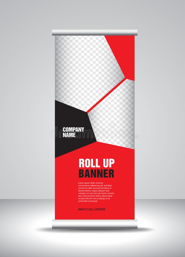 Ο κόκκινος ρόλος επάνω στο διάνυσμα προτύπων εμβλημάτων, έμβλημα, στάση, σχέδιο έκθεσης, διαφήμιση, σηκώνει, Χ-έμβλημα διανυσματική απεικόνιση
